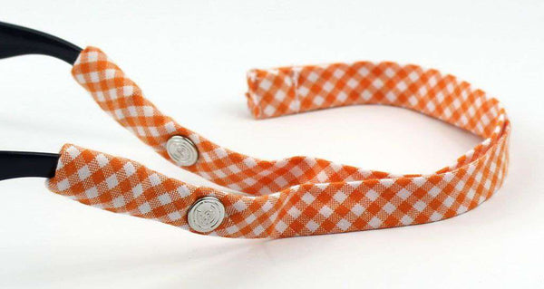 Gingham Generation 2.0 Sunglass Straps in Orange by CottonSnaps