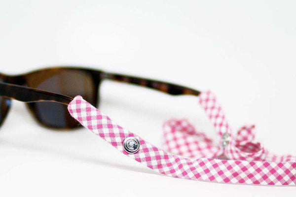 Gingham Generation 2.0 Sunglass Straps in Pink by CottonSnaps