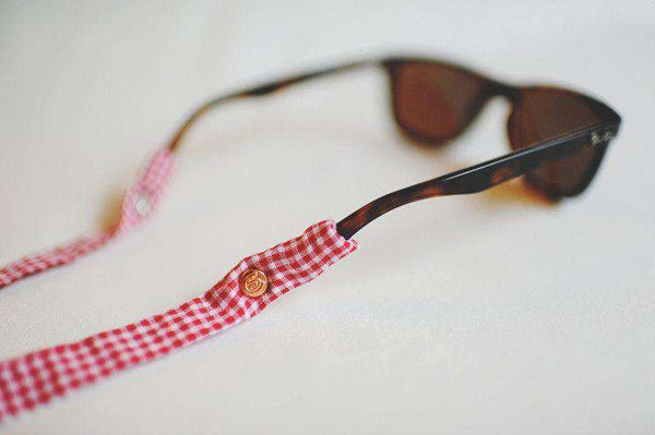 Gingham Generation 2.0 Sunglass Straps in Red by CottonSnaps