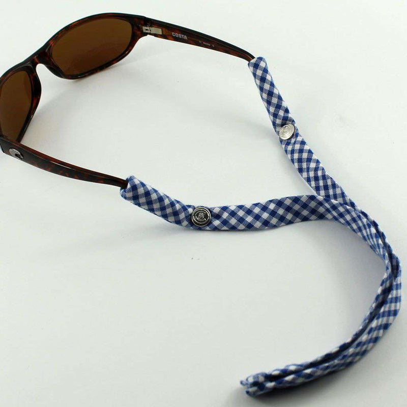 Gingham Generation 2.0 Sunglass Straps in Royal Blue by CottonSnaps