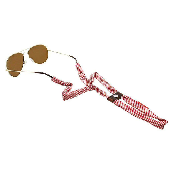 Sunglass Straps - Gingham Sunglass Straps In Red By Knot Clothing & Belt Co.