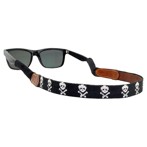 Jolly Roger Needlepoint Sunglass Straps in Black by Smathers & Branson