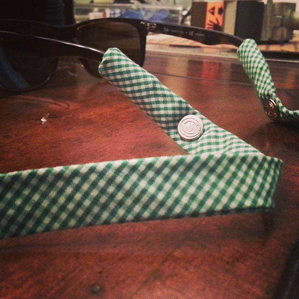 "Limited Edition ""Arnie"" Palmer Sunglass Straps in Augusta Green Gingham by CottonSnaps"