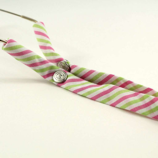 Limited Edition Pink and Green Stripes Sunglass Straps by CottonSnaps