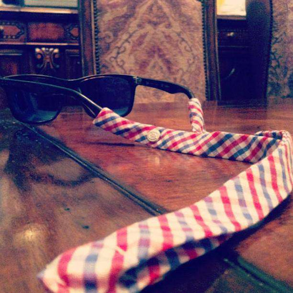 Limited Edition Sunglass Straps in Red, White and Old Blue Tattersall by CottonSnaps