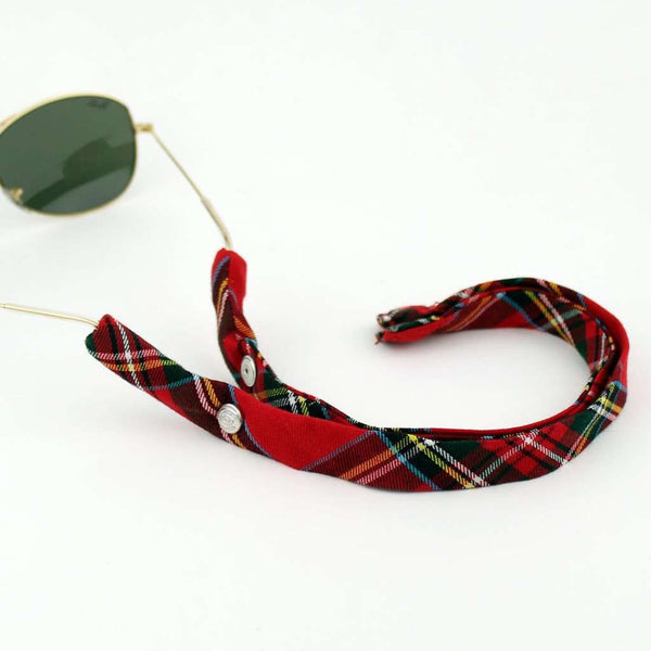 MacIntosh Plaid Sunglass Straps in Red and Green by CottonSnaps