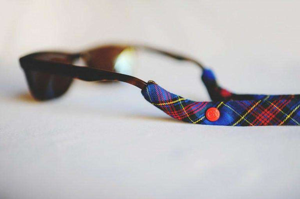 Plaid Sunglass Straps in Blue and Red by CottonSnaps