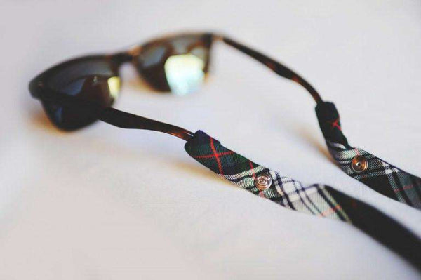 Plaid Sunglass Straps in Green, White and Black by CottonSnaps