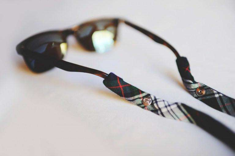Sunglass Straps - Plaid Sunglass Straps In Green, White And Black By CottonSnaps