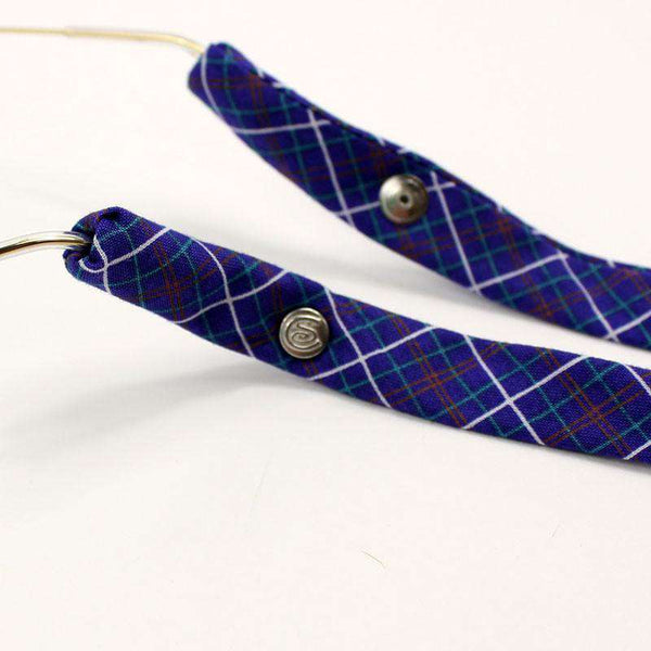 Plaid Sunglass Straps in Purple/Blue and White by CottonSnaps