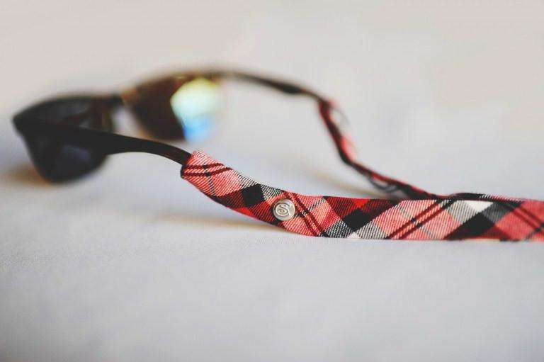 Plaid Sunglass Straps in Red and Black by CottonSnaps