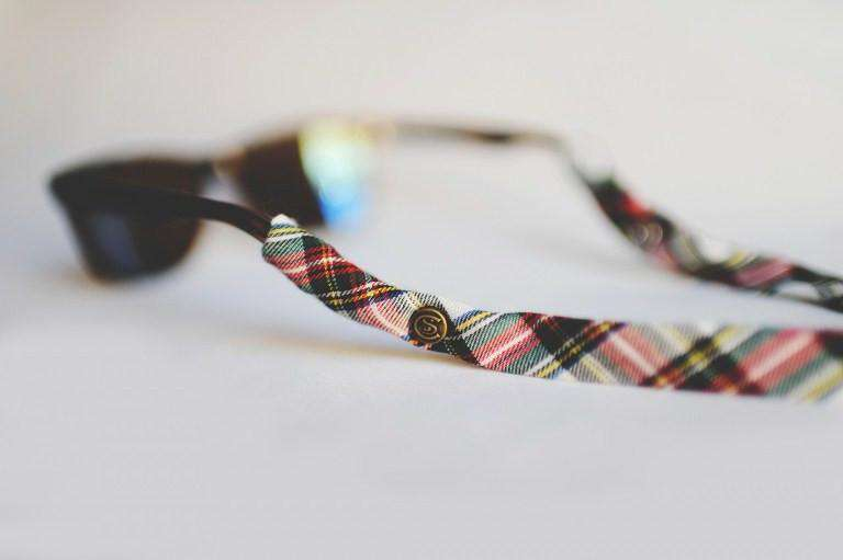 Sunglass Straps - Plaid Sunglass Straps In Red, Green And White By CottonSnaps