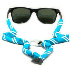 Sunglass Straps - Powder Blue & White Striped Bottle Opener Sunglass Straps By Gobi Straps