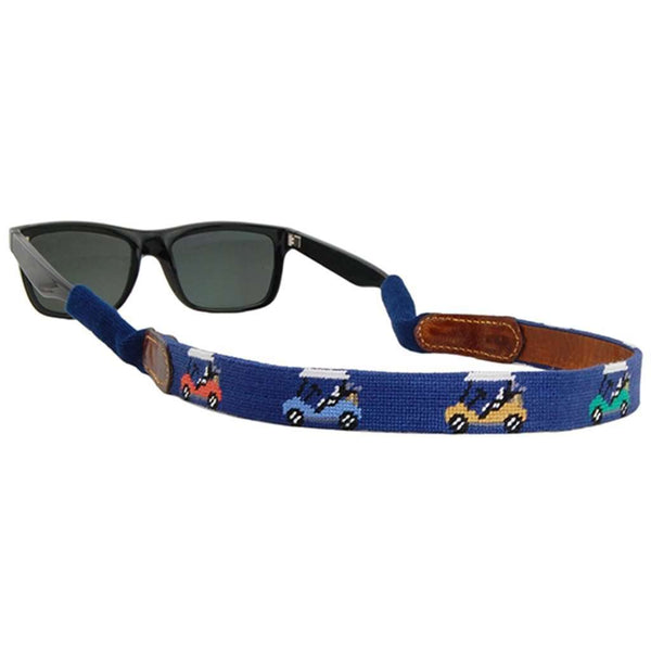 Sunglass Straps - Rainbow Golf Carts Needlepoint Sunglass Straps In Classic Navy By Smathers & Branson