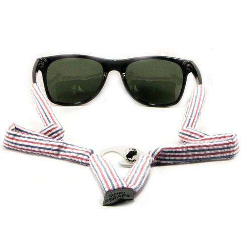 Red, White & Blue Seersucker Bottle Opener Sunglass Straps by Gobi Straps