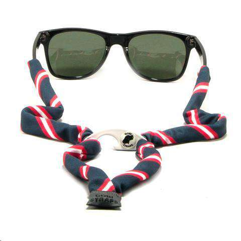 Red, White & Navy Bottle Opener Striped Sunglass Straps by Gobi Straps