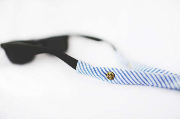 Sunglass Straps - Seersucker Generation 2.0 Sunglass Straps In Navy Blue By CottonSnaps