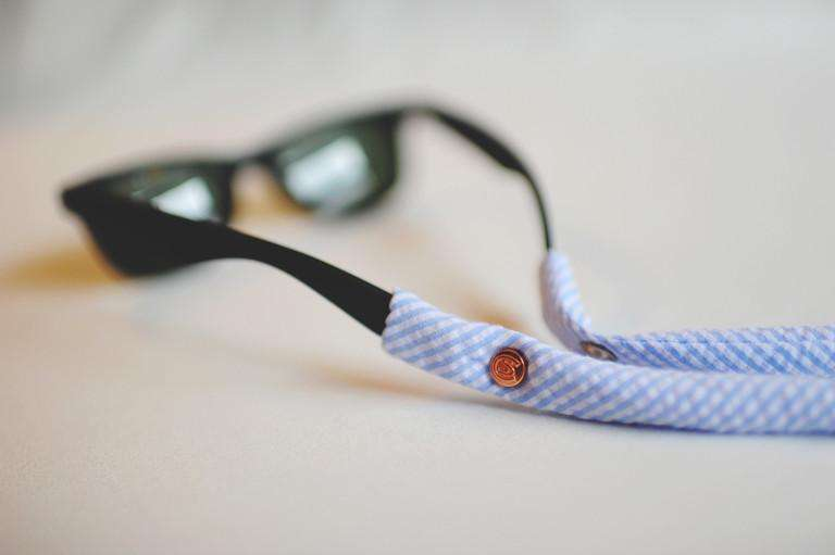 Sunglass Straps - Seersucker Generation 2.0 Sunglass Straps In Sky Blue By CottonSnaps