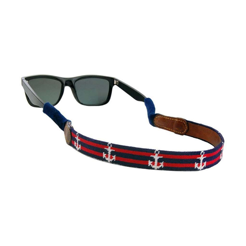 Striped Anchor Needlepoint Sunglass Straps by Smathers & Branson