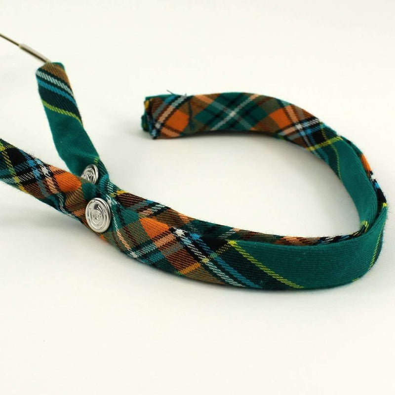 Summer Plaid Generation 2.0 Sunglass Straps in Green and Orange Plaid by CottonSnaps