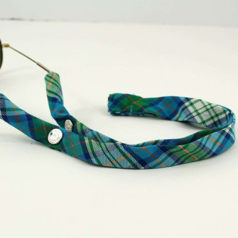 Summer Plaid Generation 2.0 Sunglass Straps in Green and Turquoise Plaid by CottonSnaps
