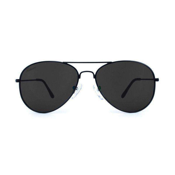 Black Mile High Aviators with Polarized Smoke Lenses by Knockaround