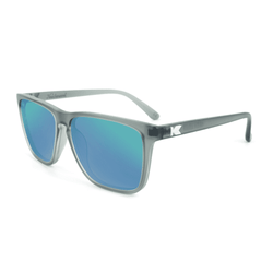 Fast Lane Frosted Grey Sunglasses with Polarized Green Moonshine Lenses by Knockaround