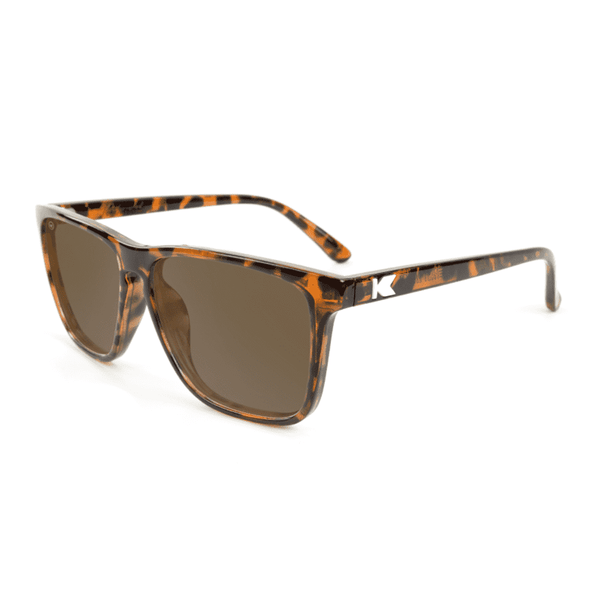 Sunglasses - Fast Lane Glossy Tortoise Shell Sunglasses With Polarized Amber Lenses By Knockaround