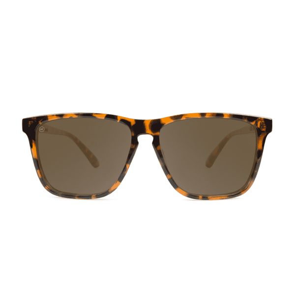 Fast Lane Glossy Tortoise Shell Sunglasses with Polarized Amber Lenses by Knockaround