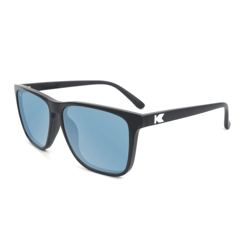 Sunglasses - Fast Lane Matte Black Sunglasses With Sky Blue Polarized Lenses By Knockaround