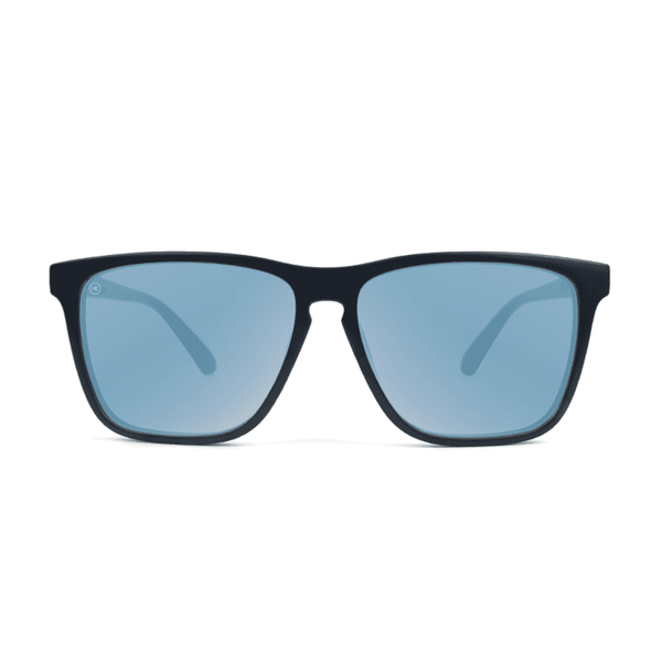 Fast Lane Matte Black Sunglasses with Sky Blue Polarized Lenses by Knockaround