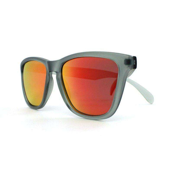 Frosted Grey Premium Sunglasses with Polarized Red Sunset Lenses by Knockaround