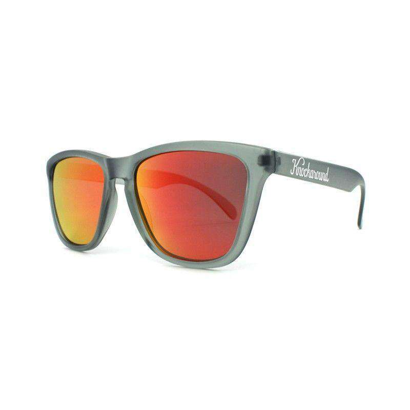 Sunglasses - Frosted Grey Premium Sunglasses With Polarized Red Sunset Lenses By Knockaround