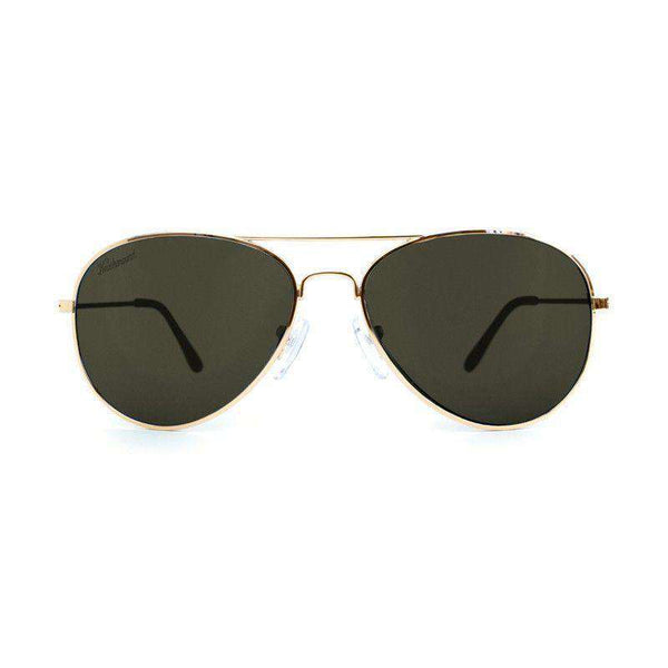 Gold Mile High Aviators with Polarized Green Lenses by Knockaround