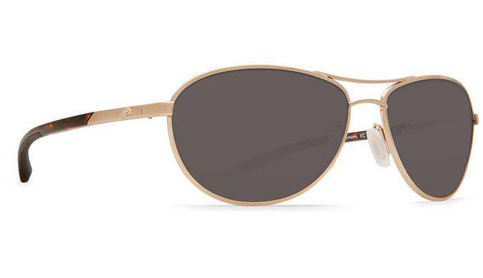 KC Rose Gold Sunglasses with Gray 580P Lenses by Costa Del Mar