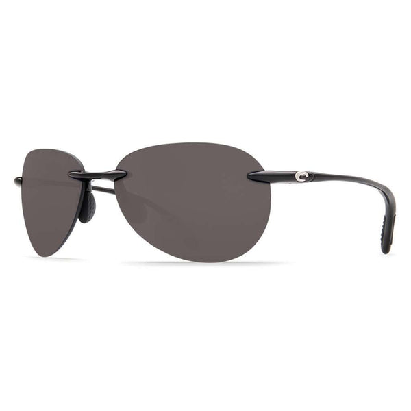 Sunglasses - West Bay Sunglasses In Shiny Black With Gray 580P Lenses By Costa Del Mar