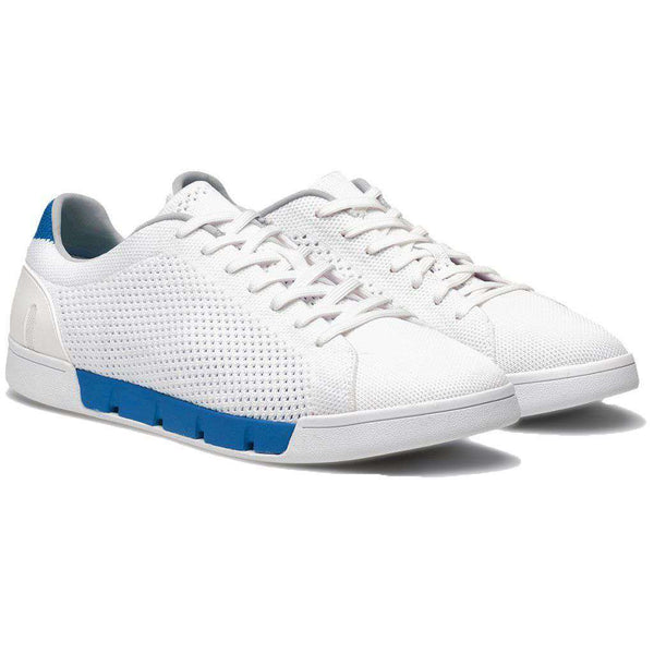 Breeze Tennis Knit Sneaker in White & Blue Blitz by SWIMS
