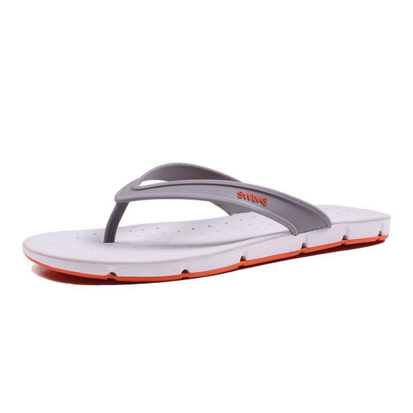 SWIMS Breeze Thong Sandal in Gray, White & Orange