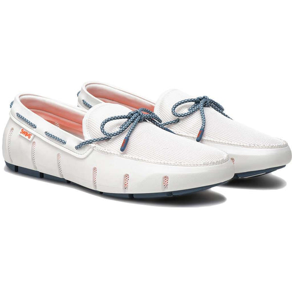 SWIMS Stride Lace Loafer in White & Slate Fleck