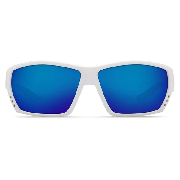 Tuna Alley Sunglasses in White with Blue Mirror Polarized Glass Lenses by Costa del Mar