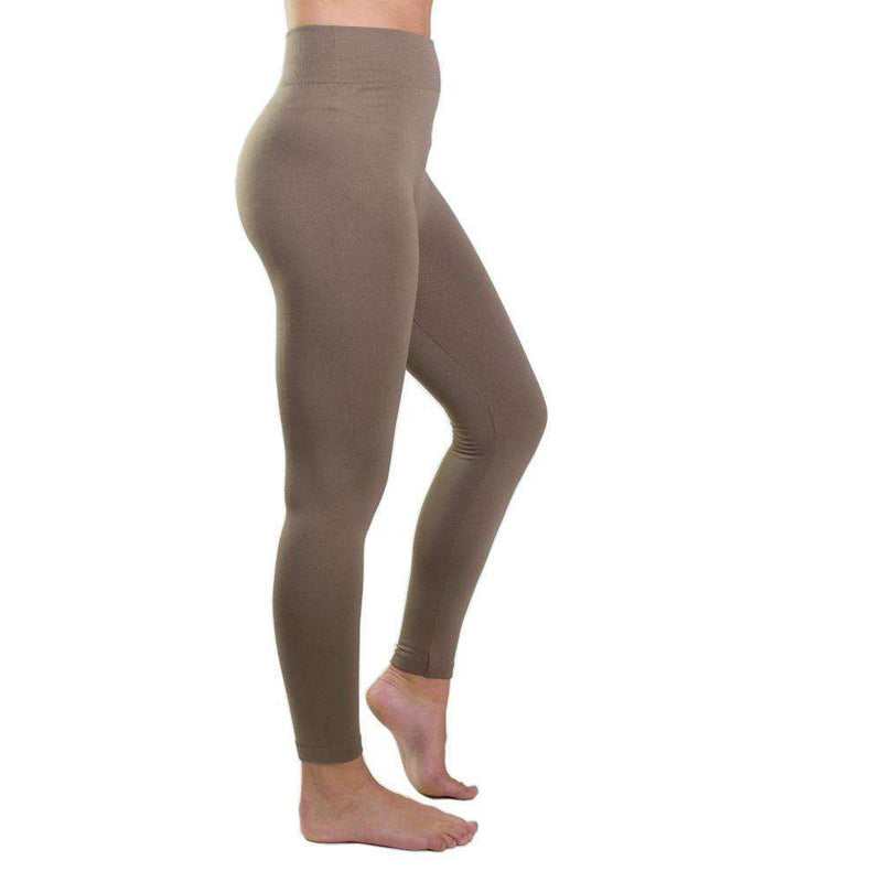 Country Club Prep Ultra-Soft Seamless Fleece Lined Leggings in Tan