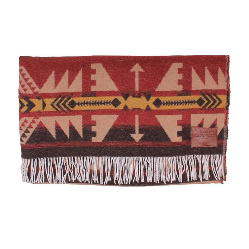 Taos Fringe Blanket in Red/Oatmeal by True Grit - FINAL SALE