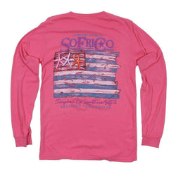 Tee Shirts - Coastal Pledge Long Sleeve Tee In Pink Jam By Southern Fried Cotton
