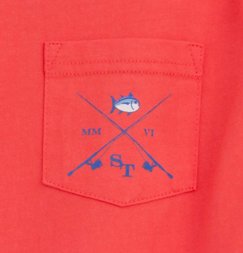 Tee Shirts - Kids Classic Lures Long Sleeve Tee Shirt In Hot Coral By Southern Tide