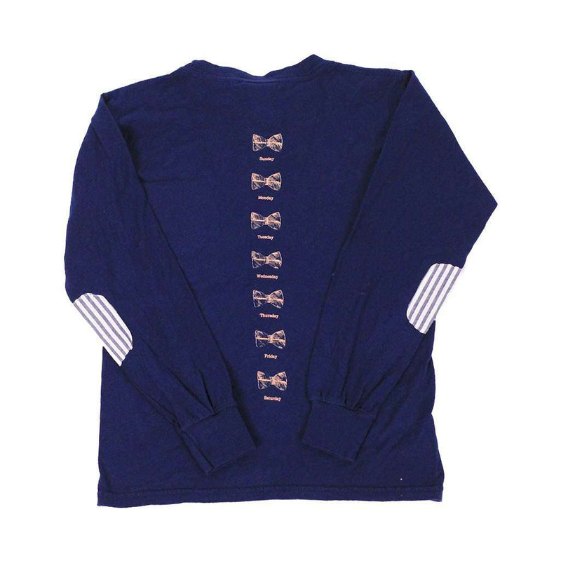 Tee Shirts - Kids Long Sleeve Seersucker Pocket Tee In Navy By South Sail