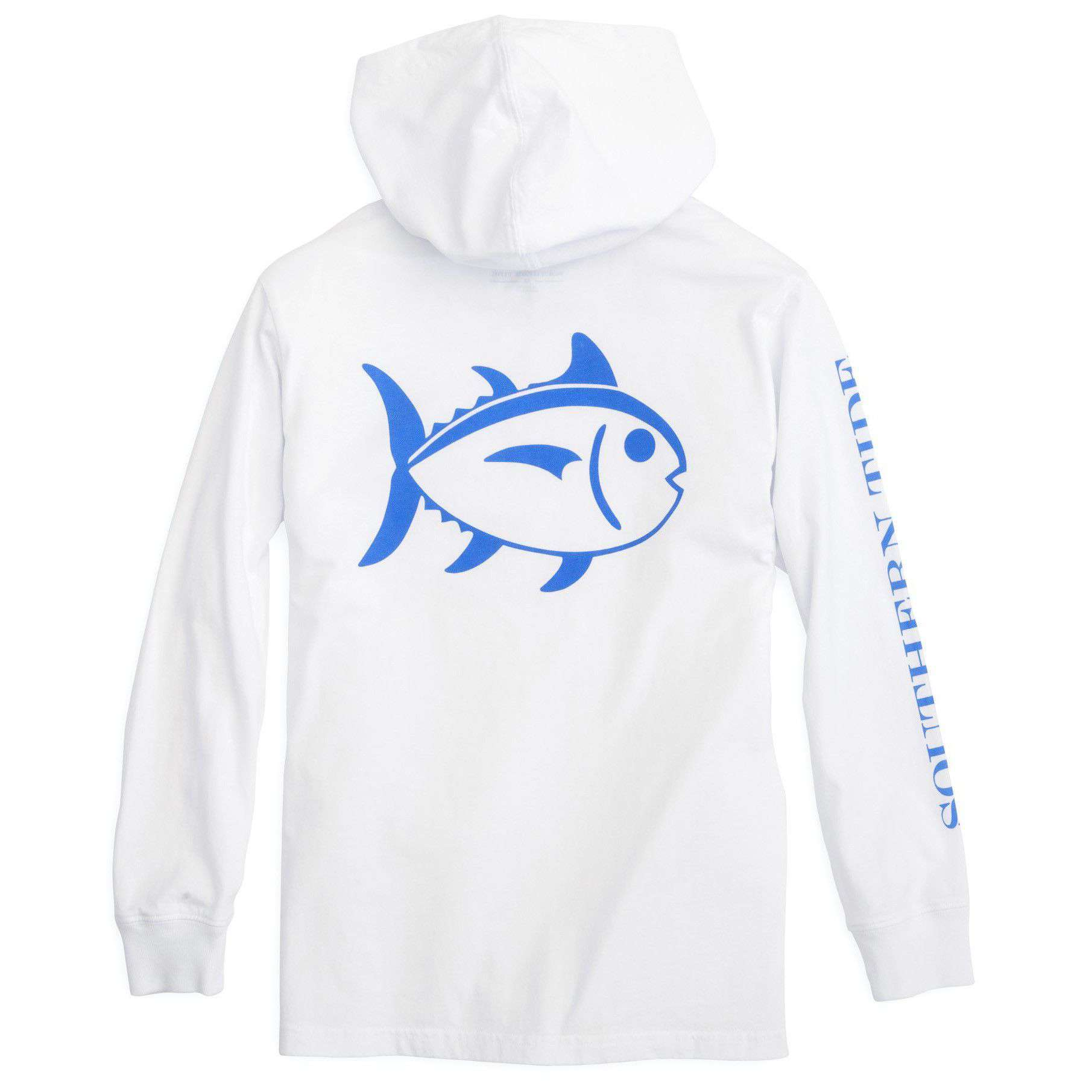 Tee Shirts - Kids Skipjack Long Sleeve Hoodie T-Shirt In Classic White By Southern Tide