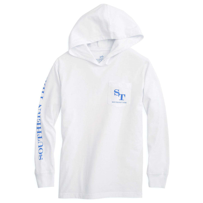Kids Skipjack Long Sleeve Hoodie T-Shirt in Classic White by Southern Tide