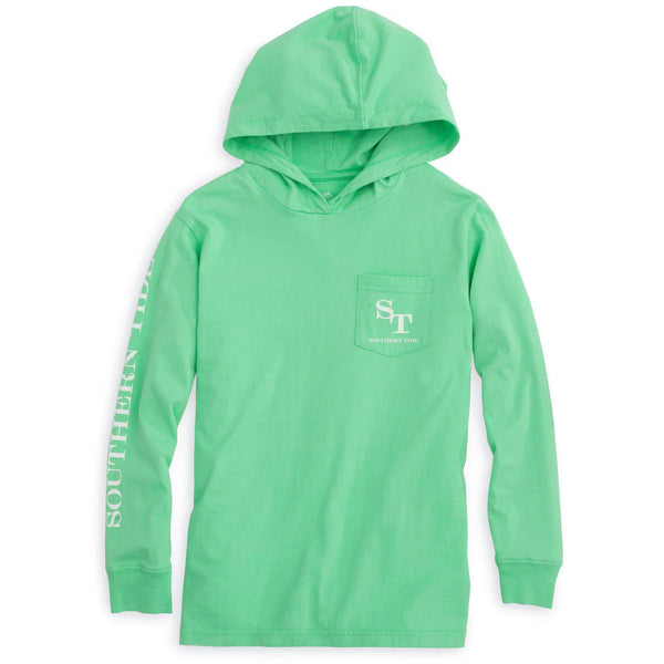 Kids Skipjack Long Sleeve Hoodie T-Shirt in Starboard by Southern Tide