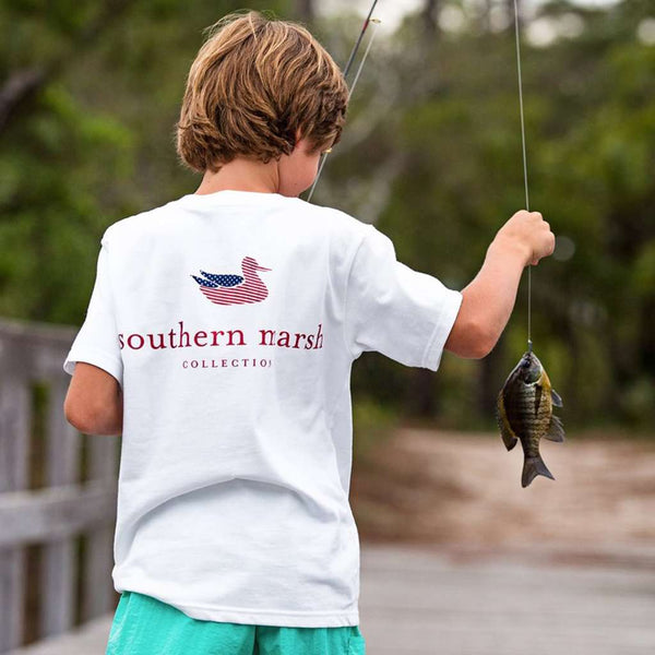 YOUTH Authentic Flag Tee in White by Southern Marsh