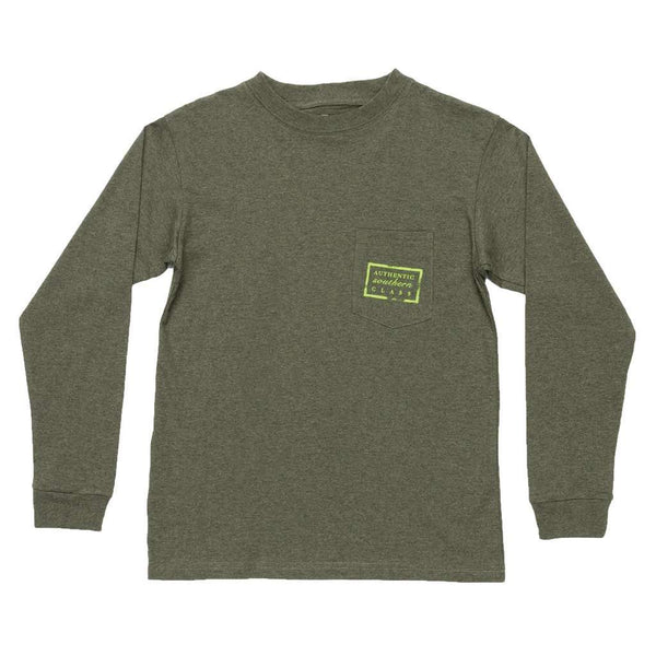 Youth Heathered Authentic Long Sleeve Tee in Washed Dark Green by Southern Marsh - FINAL SALE